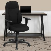 View Product - High Back Black Fabric Multifunction Swivel Ergonomic Task Office Chair with Adjustable Arms