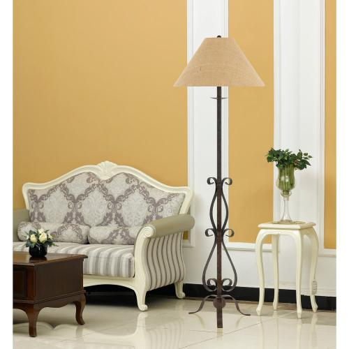 150W 3 Way Ekalaka Wrough Iron Floor Lamp With Burlap Shade