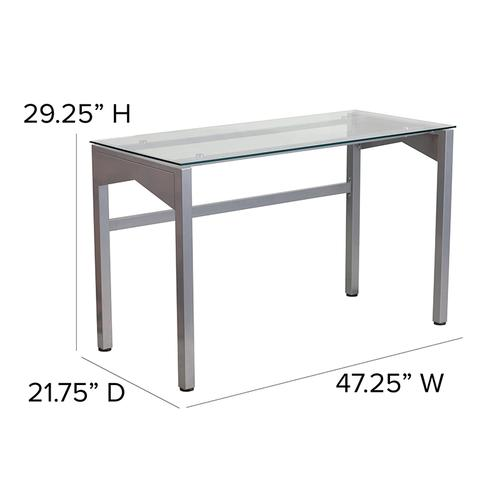 Flash Furniture - Contemporary Clear Tempered Glass Desk with Geometric Sides