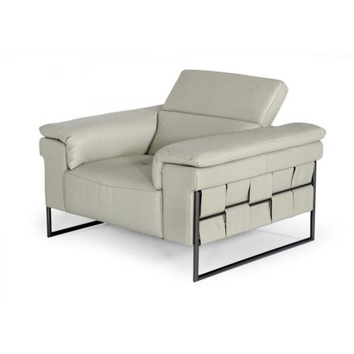 Divani Casa Shoden - Modern Light Grey Leather Chair
