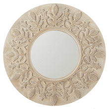 Carved Whitewash Leaf Scroll Wall Mirror
