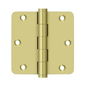 "Deltana - 3-1/2"" x 3-1/2"" x 1/4"" Radius Hinge, Residential - Polished Brass"