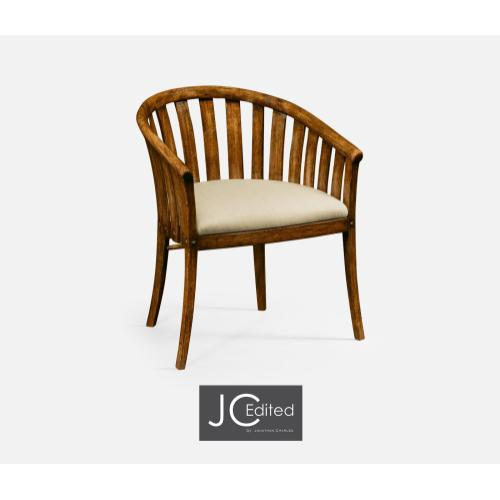 Country Walnut Style Tub Armchair, Upholstered in MAZO