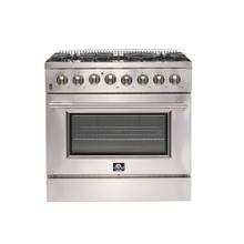"36"" Galiano Gas Range with 240 Volt Electric Oven Dual Fuel FORNO ALTA QUALITA Pro-Style 6 DEFENDI Italian Burners 83,000 BTU All Stainless Steel FFSGS6156-36"
