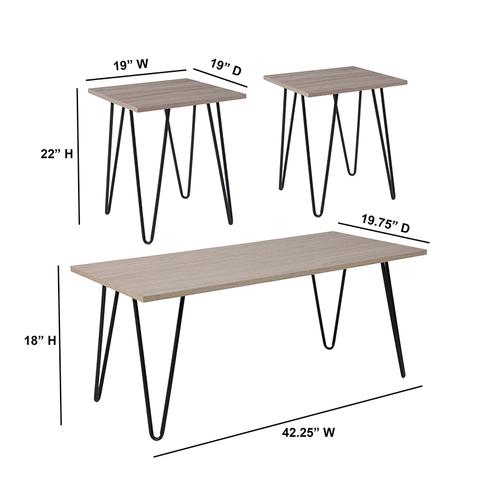 Flash Furniture - Oak Park Collection 3 Piece Coffee and End Table Set in Driftwood Wood Grain Finish and Black Metal Legs