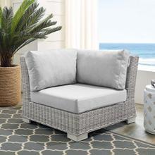 Conway Sunbrella® Outdoor Patio Wicker Rattan Corner Chair in Light Gray Gray