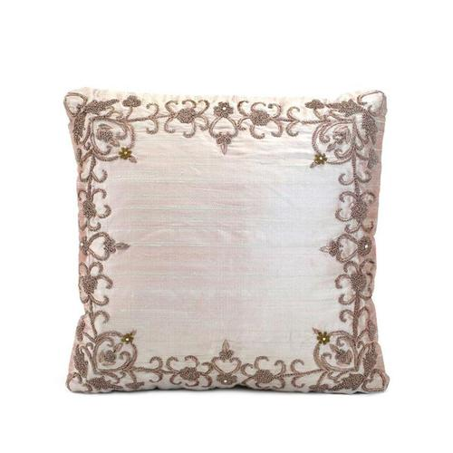 Mauve Silk Heavily Embroidered Pillow