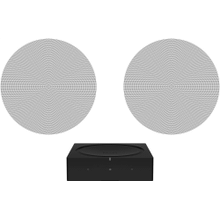 See Details - Black- A pair of architectural speakers and a powerful amplifier for ambient listening.