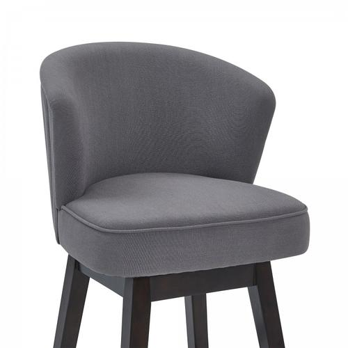 """Armen Living Brandy 26"""" Counter Height Barstool in Espresso Finish and Grey Fabric"""