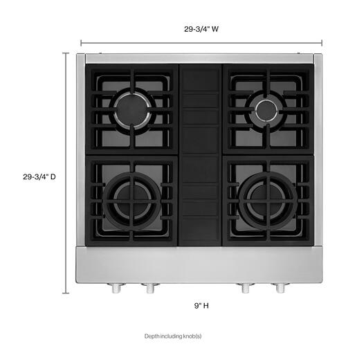 KitchenAid® 30'' 4-Burner Commercial-Style Gas Rangetop - Stainless Steel