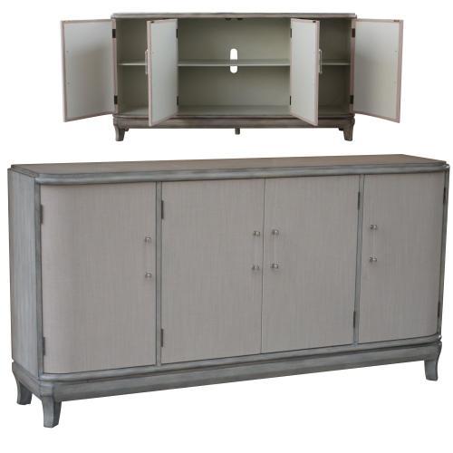 Crestview Collections - Marshall 4 Linen Door Acrylic Hardware Grey Wash Sideboard