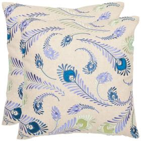 Lucky Feathers Pillow - Blue / Creme