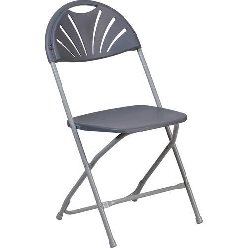 Flash Furniture - HERCULES Series 650 lb. Capacity Charcoal Plastic Fan Back Folding Chair