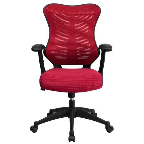 Gallery - High Back Designer Burgundy Mesh Executive Swivel Ergonomic Office Chair with Adjustable Arms