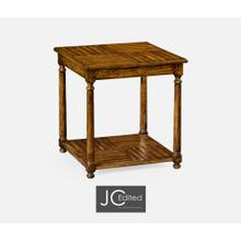 Country Walnut Parquet Square Lamp Table with Contrast Inlay