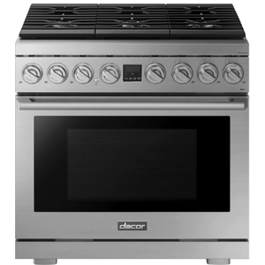 """DacorTransitional 36"""" Dual-Fuel Range, Silver Stainless Steel, Natural Gas/Liquid Propane"""