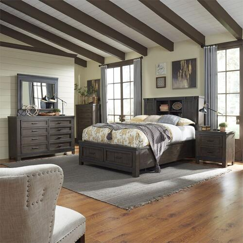 King Bookcase Bed, Dresser & Mirror, Chest, Night Stand