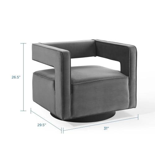 Modway - Booth Performance Velvet Swivel Armchair in Gray