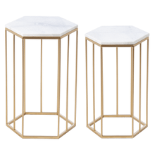 White Marble & Gold Side Table (2 pc. set)
