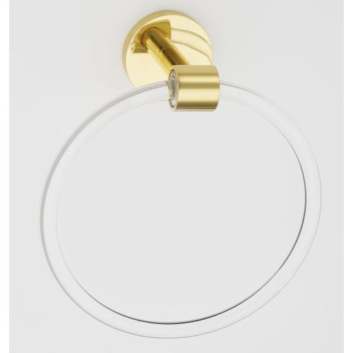 Acrylic Contemporary Towel Ring A7240 - Polished Brass