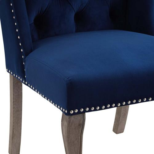 Apprise French Vintage Dining Performance Velvet Side Chair in Navy