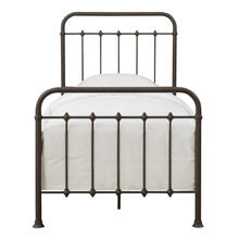 3/3 Twin Curved Metal Bed - Brown