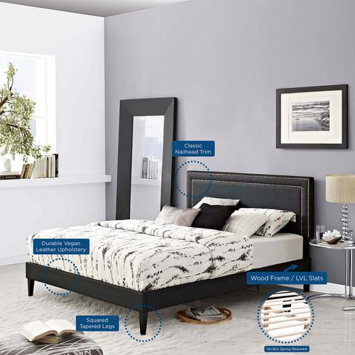 Modway - Virginia King Vinyl Platform Bed with Squared Tapered Legs in Black