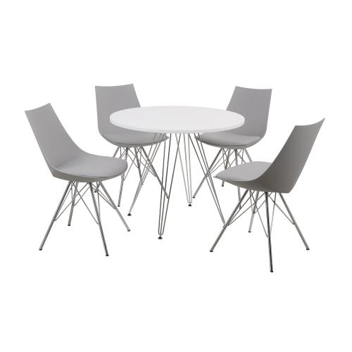 "Emerald Home Audrey Dining Table-round 40"" Diameter White Top, Chrome Base D119-10-40wht"