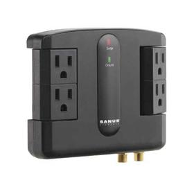 Black Low-Profile Surge Protector Designed for use behind wall mounts and AV furniture