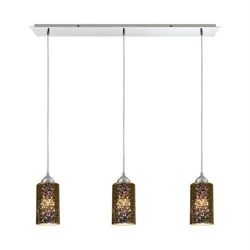 Illusions 3-Light Linear Mini Pendant Fixture in Polished Chrome with Sage Mercury Mirror Glass