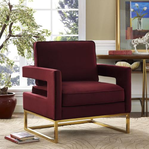 Tov Furniture - Avery Maroon Velvet Chair
