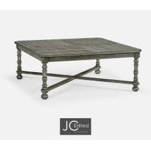 Antique Dark Grey Large Square Parquet Coffee Table