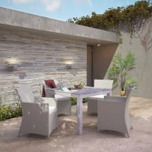 Junction 5 Piece Outdoor Patio Dining Set in Gray White