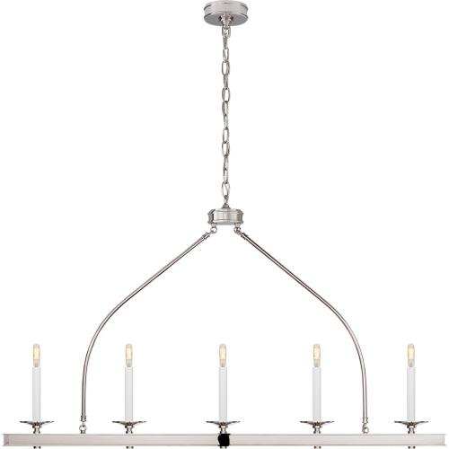 Visual Comfort CHC1605PN E. F. Chapman Launceton 5 Light 52 inch Polished Nickel Linear Pendant Ceiling Light, Large