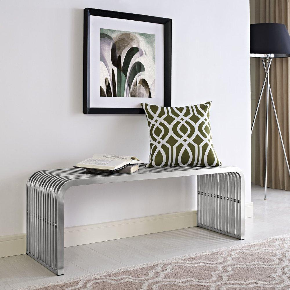 """Pipe 47"""" Stainless Steel Bench in Silver"""