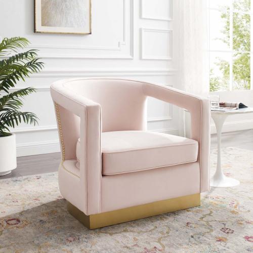 Frolick Performance Velvet Armchair in Pink