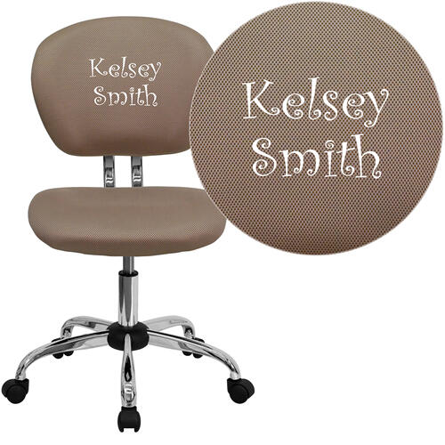 Embroidered Mid-Back Coffee Brown Mesh Swivel Task Chair with Chrome Base