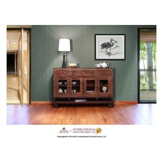 See Details - 3 Drawer, 4 Doors Console w/wooden shelf, iron base and casters