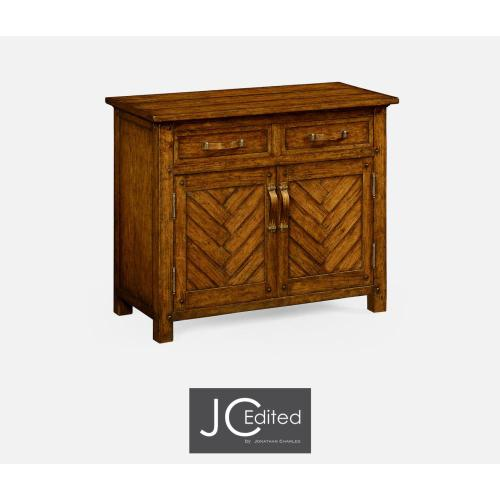 Plank country walnut cabinet or dresser base with strap handles