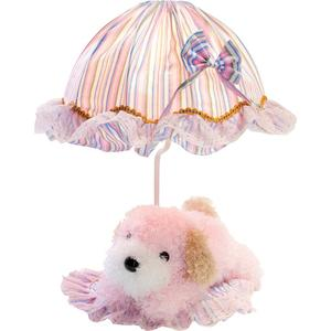 Table Lamp - Pink Dog/striped Fabric Shade, E27 Type B 40w