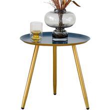 See Details - 7077 DARK BLUE Top Round Metal Side Table w/ 3 Gold Metal Legs