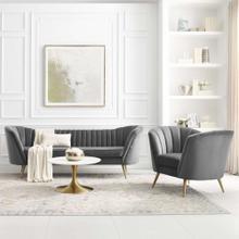 Opportunity Performance Velvet Sofa and Armchair Set in Gray
