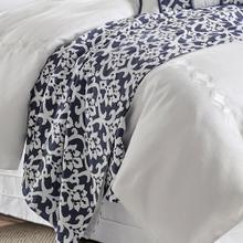 Kavali Floral Jaquard Duvet Cover, Navy U0026 White - King