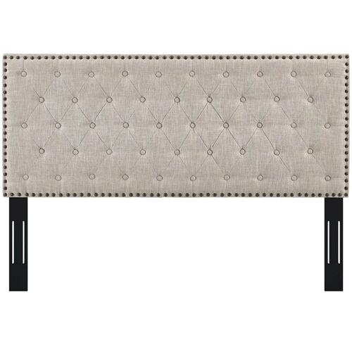 Helena Tufted Full / Queen Upholstered Linen Fabric Headboard in Beige