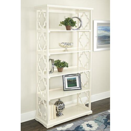 5-shelf and Open Back Bookcase, White