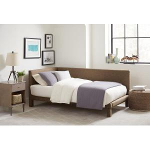 Ryleigh Twin Brown Upholstered Corner Daybed