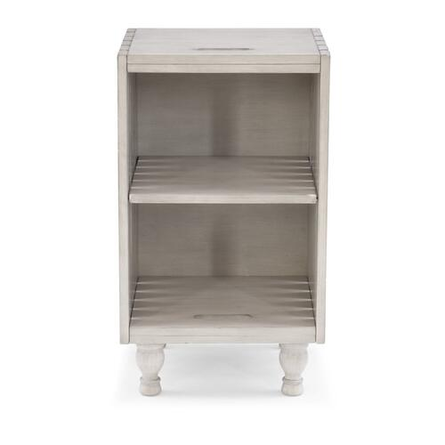 2 Open Shelves Storage Side Table, White