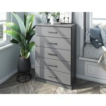 See Details - 7205 - 100% Solid Wood Metro 5-Drawer Chest, Gray