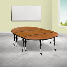 """See Details - 3 Piece Mobile 86"""" Oval Wave Flexible Oak Thermal Laminate Activity Table Set - Height Adjustable Short Legs"""