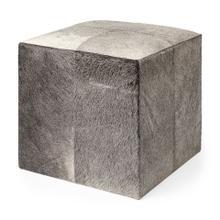 "See Details - Minara I 20"" Grey-toned hair-on-hide ottoman"